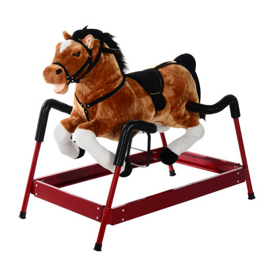 Kids Plush Spring Rocking Horse With Sound