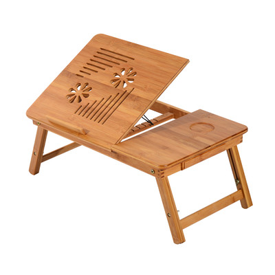 "21.7"" Folding Bamboo Laptop Stand Adjustable Notebook Table Desk Portable Tray With Drawer"