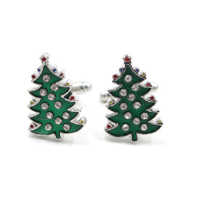 Men's Stainless Steel Christmas Tree Cufflinks