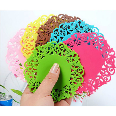 Silicone Flower Coasters Cup Mat  - Pack of 10