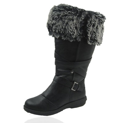Women Winter Boots Comfy Moda Jessica Size 6-12 in Black Wide Calf