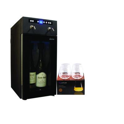 Vinotemp 2 Bottle Wine Dispenser/Chiller + 24PC Lotus Premium Crystal Stemless Wine Glass Set ($149) Value
