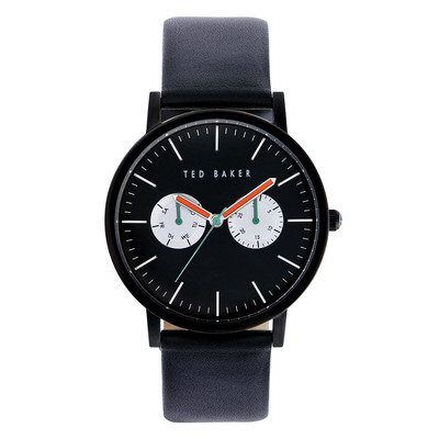 Ted Baker Men's Smart Casual Collection Custom Multifunction Sub-Eye with Contrast Detail Date Leather Strap Watch Black