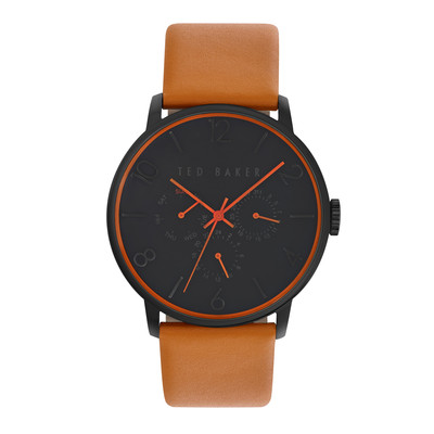 Ted Baker Men's Classic Collection Custom Multifunction Sub-Eye with Contrast Detail Date Leather Strap Watch Black
