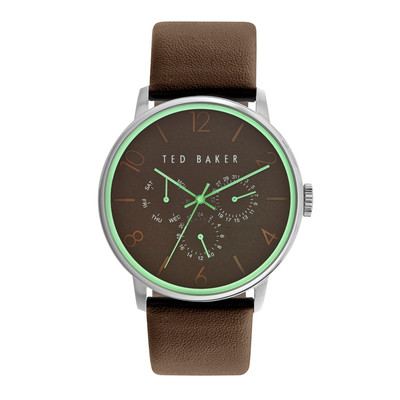 Ted Baker Men's 10023496 Stainless Steel Watch with Brown Leather Band
