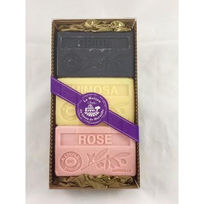 La Maison du Savon de Marseille Argan Oil Perfume Soap Opium/Mimosa/Rose 3 x 125g Gift Set D  Made in France.