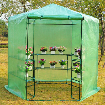 7.4FT Hexagonal Portable Walk-In Greenhouse Warm Plants Flower House With Shelves