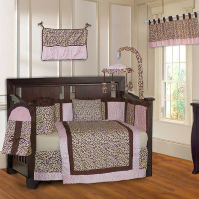 Pink 10 Piece Girls Baby Crib Bedding Set (Including Musical Mobile)