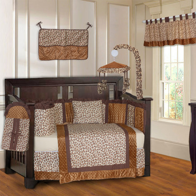 Brown Leopard 10 Piece Girls Baby Crib Bedding Set (Including Musical Mobile)
