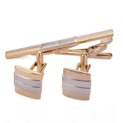 Men's Stainless Steel Tie Bar and Cufflink Set