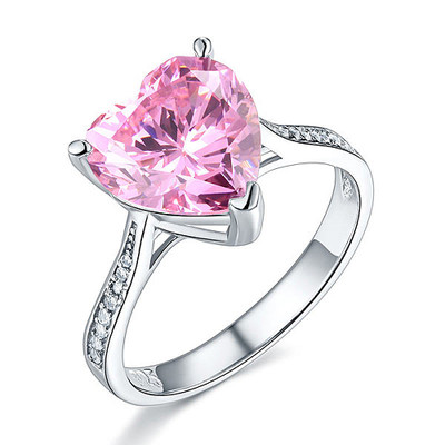 925 Sterling Silver 3.5 Carats Pink Created Diamond Heart Ring (3.5 Cttw, G-H Color, I2-I3 Clarity)