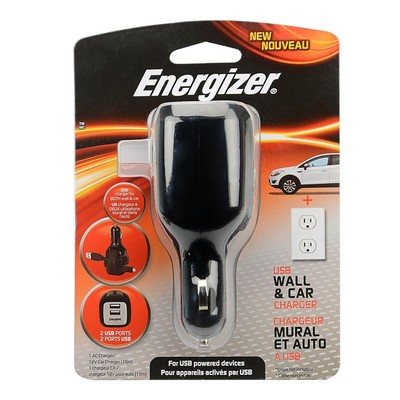 Energizer 2.1A Dual USB Wall & 12V Car Charger with Cable Storage (EN-Pl-9947)