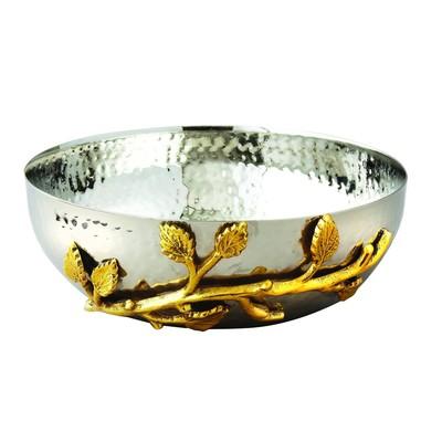 """6.5"""" Gilt Leaf Hammered Bowl"""