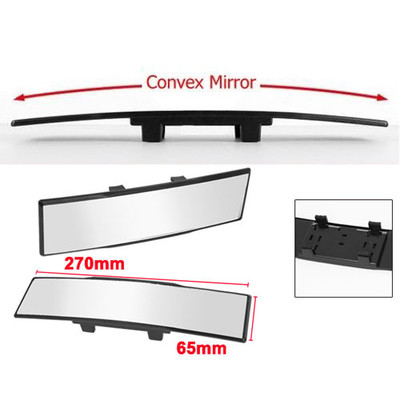 Universal 270mm Convex Curve Wide Angle Easy Clip On Panoramic Rear-View Mirror for Car, Truck and SUV