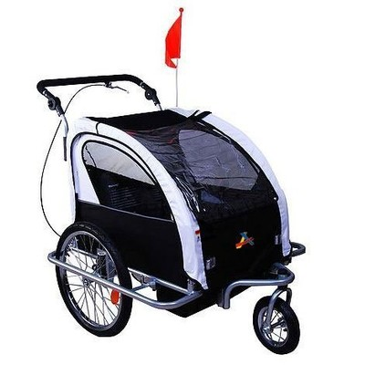 Deluxe Child Bike Trailer Double 2 in 1 Baby Kids Children Seat Jogger Stroller Black White