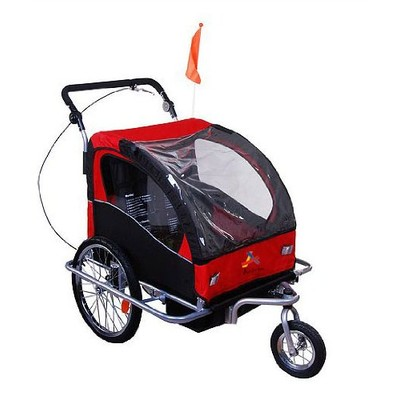 Deluxe Child Bike Trailer Double 2 in 1 Baby Kids Children Seat Jogger Stroller Red Black