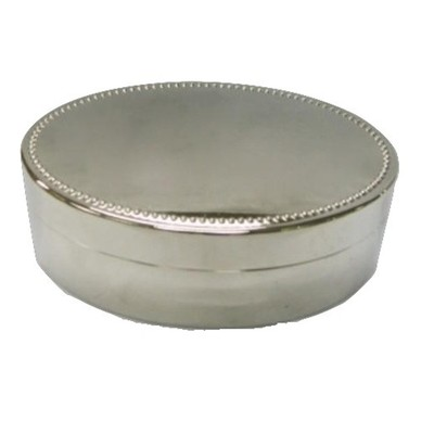 "Nickel Plated Oval Jewelry Box, 4.5"" x 3"""