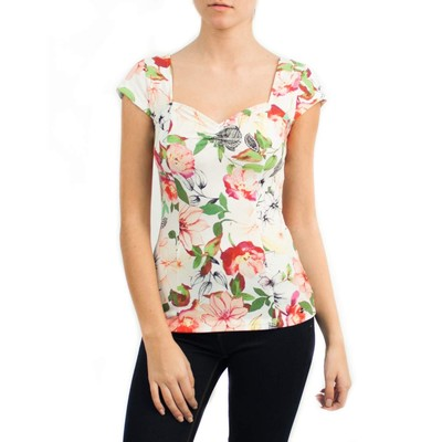 Guess CAYLEE SWEETHEART CAP SLEEVE FLORAL TOP
