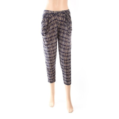 Luxanne Black Floral Loose Pants Tight Ankle One Size