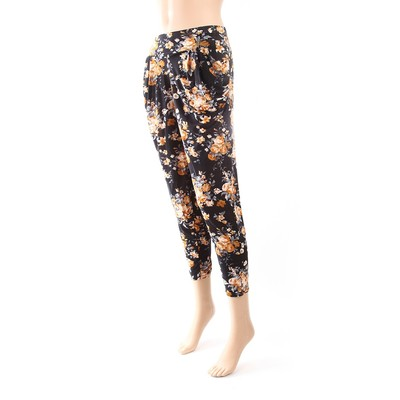 Luxanne Lined Black White Loose Pants Tight Ankle One Size