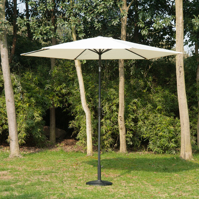 9' Patio Market Aluminum Umbrella Sun Shade Outdoor w/ Crank White