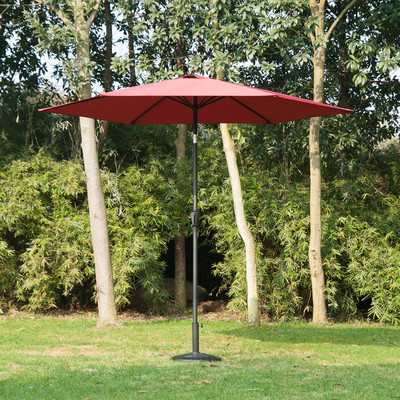 9' Patio Market Aluminum Umbrella Sun Shade Outdoor w/ Crank Wine Red