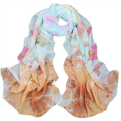 NEW FOR SPRING: Soft Blue and Coral Flower Scarf or Sarong