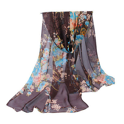 NEW FOR SPRING: Chocolate and Teal  Garden Scarf of Sarong