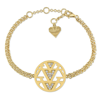 White Sapphire Openwork Drop Necklace in 18k Yellow Gold Plated Sterling Silver