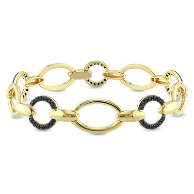 Black Spinel Circle Link Bracelet in 18k Yellow Gold Plated Sterling Silver