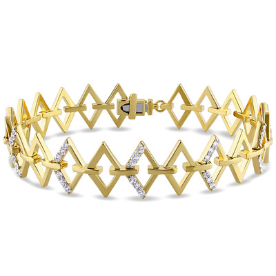 White Sapphire Logo Ladder Bracelet in 18k Yellow Gold Plated Sterling Silver