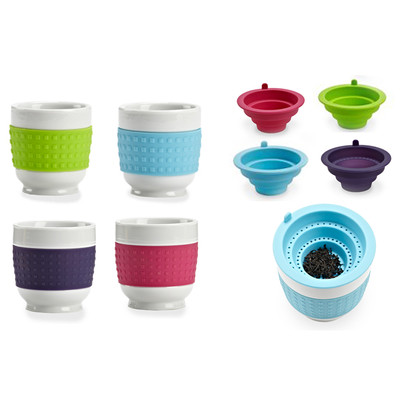 Porcelain Latte Mug / Tea Cup, with Silicone Sleeve and Strainer (Set of 4)