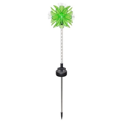 Solar Green Flower Stake with 12 Upward LEDs