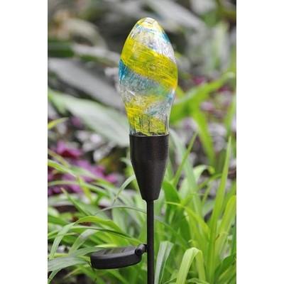 Garden Stake - Glass Blown Solar Bulb - Yellow/Blue