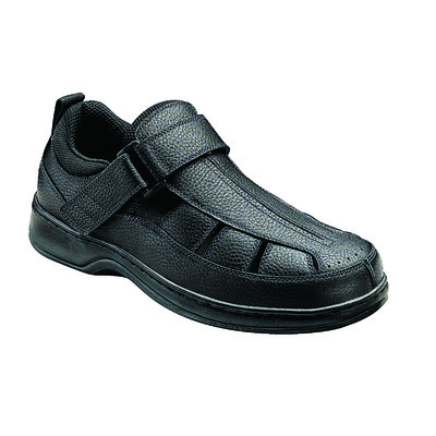 Orthopedic Footwear - Ortho Feet Men's Hook and Loop Melbourne Black Medium Width Ref 571M