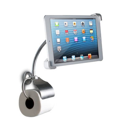 CTA DIGITAL Wall-Mount Bathroom Stand for iPad and Tablets with Paper Holder