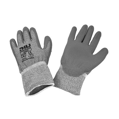Dukwon Glove 5232Z Glass Fiber Cut Resistance Gloves, Grey Polyurethane Palm, Light Grey, 6/Pack