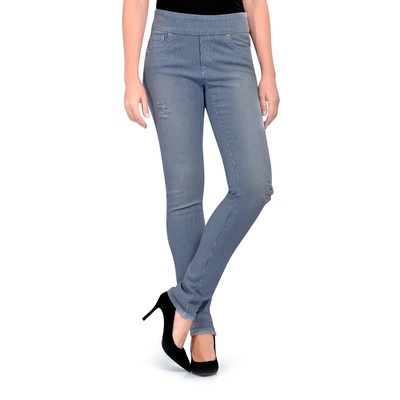 Bluberry Women's Stripe Light wash & Rips Slim Leg Denim
