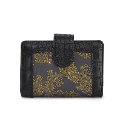 Luxanne Framed Canvas Black Gold Small Wallet