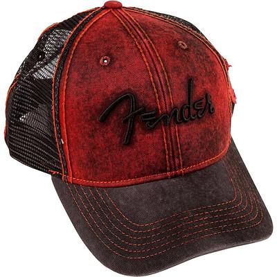 Fender Washed Trucker Hat - Red, 0/S - Fender - 910-6633-506