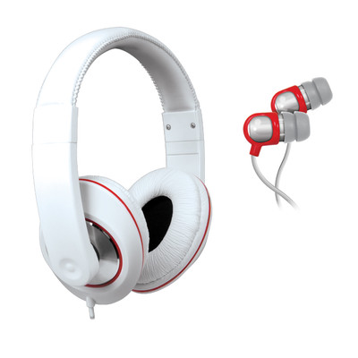 ISOUND 2-In-1 Sound Kit DJ-Style Headphones & Earbuds (White) (845620040056)