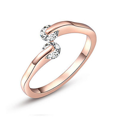 SALE! Rose Gold Angled Double Diamond Ring