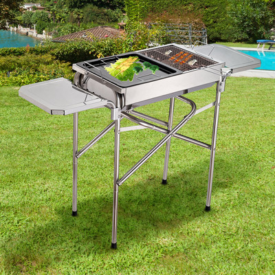 Outdoor BBQ Grill Portable Kebab Barbecue Charcoal Stainless Steel Smoker Camping Cooking
