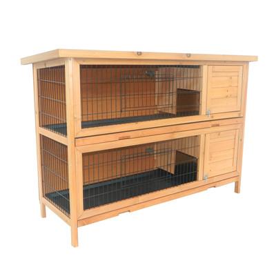 Rabbit Hutch Bunny Chicken Pet House Wooden Coop Run Habitat Poultry 2 Storey with Run