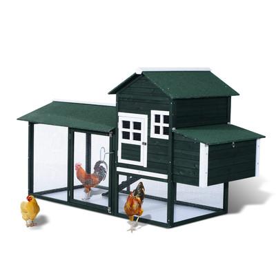"48"" Chicken Cage Wooden Hen Coop Pet Hutch Nesting Box Animal Habitat House Green"