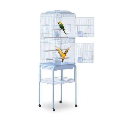 "3"" Bird Cage Macaw Cockatoo House Parrot Play Top Finch Pet Supply with Wheels White"