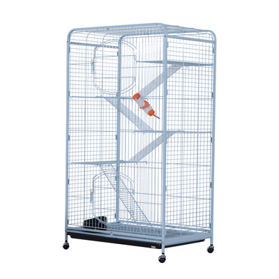 """55"""" Portable Pet Cage Cat Rabbit Bunny House 2 Doors Steel Exercise Playpen with Wheels White"""