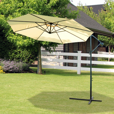 10ft Patio Umbrella Outdoor Market Canopy Cover Sunshade Parasol Yard Garden Beige & Deep Grey
