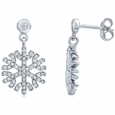 Sterling Silver Earrings Snowflake with CZ