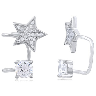Sterling Silver Cuff Earrings with CZ